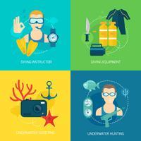 Dykning ikoner komposition vektor