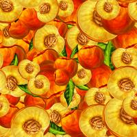 Seamless persikofrukt skivad mönster