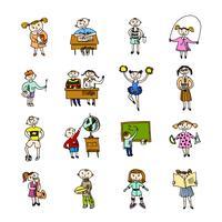 Uppsättning doodle barn vektor