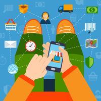 Online shopping platt koncept vektor