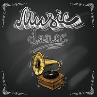 Retro vintage-grammofonaffisch