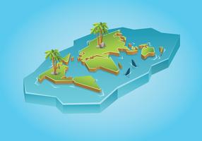 Karte der internationalen Inseln 3D vektor