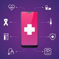 Online-Gesundheitsfürsorge und medizinische Beratung durch mobiles Smartphone vektor