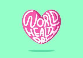 rosa hjärtat världens hälsodag vektor