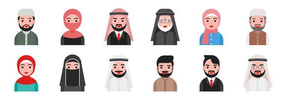 söta avatar arabiska muslimer i platt design vektor