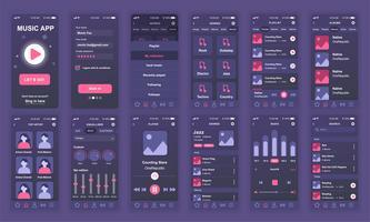 Set von UI, UX, GUI-Bildschirmen Flache Design-Vorlage für Musik-Apps, responsive Website-Drahtgitter UI-Kit für Webdesign. Musik-Dashboard.