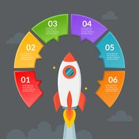 Infografisk mall för steg eller arbetsflödesdiagram med raket