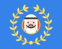 Arabischer Geschäftsmann im Kreisrahmen und im Kranz