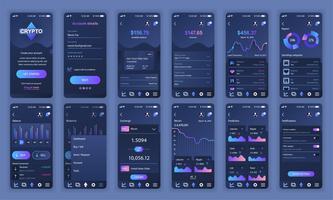 Set UI, UX, GUI skärmar Cryptocurrency app platt design mall för mobilappar, lyhörda webbplats wireframes. Webdesign UI-kit. Cryptocurrency Dashboard.