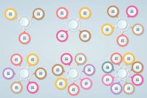 Sats med infografisk mall för steg eller arbetsflödesdiagram 3-8 steg