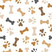 hund sömlöst mönster tema, ben, tassfottryck för användning som bakgrund eller bakgrund