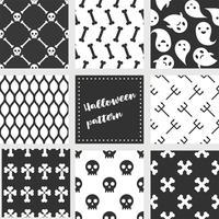uppsättning halloween sömlösa mönster, platt design