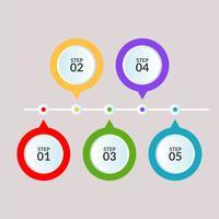 Infografisk mall med fem steg eller arbetsflödesdiagramaffisch
