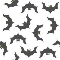 Halloween sömlöst mönster, fladdermöss, platt design med klippmask