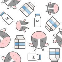 Milchflasche, Karton und Kuh, nahtloses Muster vektor