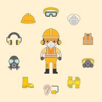 industriell säkerhet och skyddsutrustning för arbetstagare illustration, fylld kontur platt design