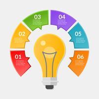 Infografisk mall för steg eller arbetsflödesdiagram med glödlampa