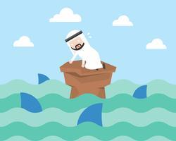 Nervouse arabischer Geschäftsmann umgeben durch Haifisch, Krisenkonzept