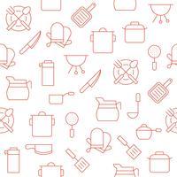 köksredskap som kaffekanna, kruka, handskar, kastrull vektor