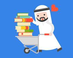 Arab affärsman bär en hög med bok med kundvagn, världsbokdagkoncept