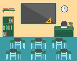Klassrum, tillbaka till skolans bakgrund tema, platt design
