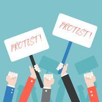 Många hand med protesttecken, protesterande koncept