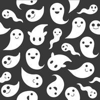 Ghost, Halloween sömlöst mönster, platt design med klippmask