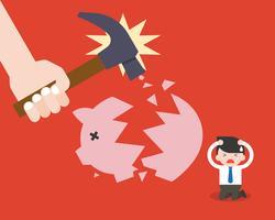 Geschäftsmann sitzen und leiden, weil Piggy Bank abgestürzt ist vektor