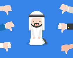 Arabisches Geschäftsmann- oder Politikerknie auf Boden für verantwortlich mit Abneigung