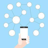 Hand som håller mobiltelefon med blank cirkel socialt nätverk graf, platt design
