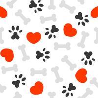 sömlöst mönster jag älskar hundtema, ben och fotutskrift
