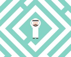 Förvirrad arabisk affärsman i labyrint, planlösningslösningskoncept