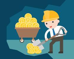 Geschäftsmanngebrauchsschaufel, die für Entdeckung bitcoin schaufelt