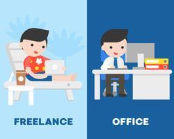 Affärsman i kontor och frilansare på strandstol, jämför koncept