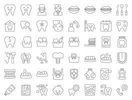 tandläkare och tandläkare relaterad ikon, tunn linje stil vektor