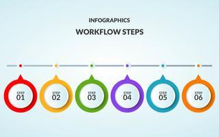 Infografisk mall för steg eller arbetsflödesdiagram som är lämpligt för användning i tidslinjen