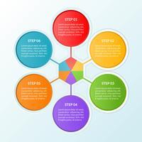Infografik-Vorlage eines Schritt- oder Arbeitsablaufdiagramms einer Verbindung mit 6 Kreisen