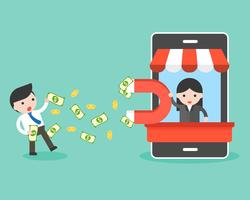 stor hand som håller stor magnet i mobilbänken lockar pengar från affärsman