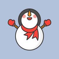 Schneemann mit Schal und Fäustlinghandschuhen, gefüllte Umrissikone für Weihnachtsthema