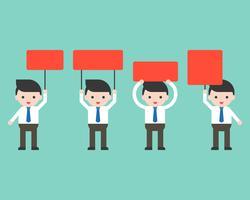 Affärsmän som håller rött blank tecken i olika hållning