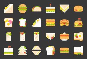 Snabbmat ikon, shawarma smörgås, varmkorv, grillad ost smörgås, platt ikon vektor