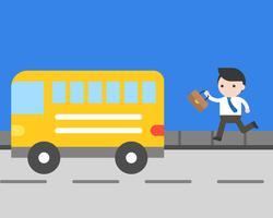 Affärsman kör för att fånga buss på väg, vardagsliv koncept