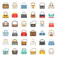 Modische Tasche feste Ikone in verschiedenen Stilen wie Einkaufstasche, Sporttasche, Boho, Fass-Set 2 vektor