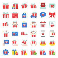 Geschenkbox oder Geschenkbox-Symbol, flaches Design