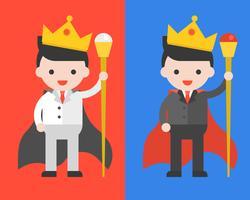 Affärsman i svartvita kostymer, bär krona och troll som konung, ledare