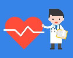 Läkare och stort hjärtaikon, hälsovårdskoncept