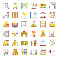 Spielzeug, Spielplatz und Fahrikone, flaches Design