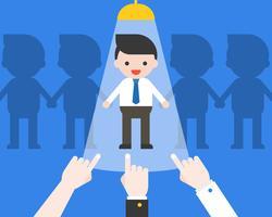 Handpunkt am Geschäftsmann mit Licht, Wahl- und Einstellungskandidat vektor