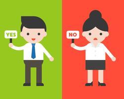 Geschäftsmanngriff ja Zeichen und Geschäftsfrau halten kein Zeichen