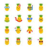 niedliche Ananas mit Gesicht im Sommerstrandthema wie Schwimmring vektor